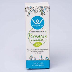 Boite d'huile essentielle wellpharma romarin à camphre bio